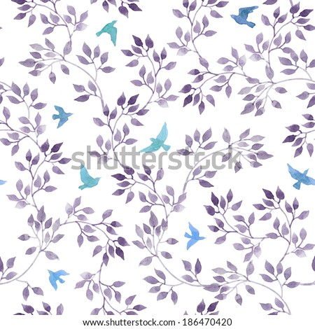 Seamless retro romantic pattern with hand painted cute leaves and vintage watercolor birds. Watercolour design on white background - stock photo