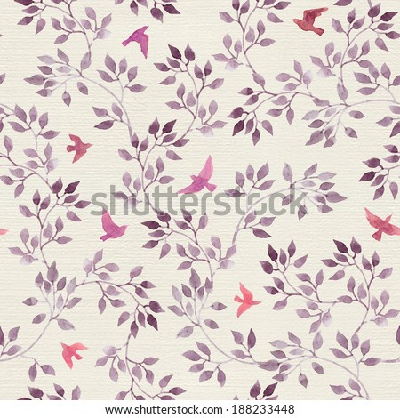Seamless retro wallpaper with cute birds and ditsy hand painted leaves. Vintage watercolor drawing on paper background - stock photo