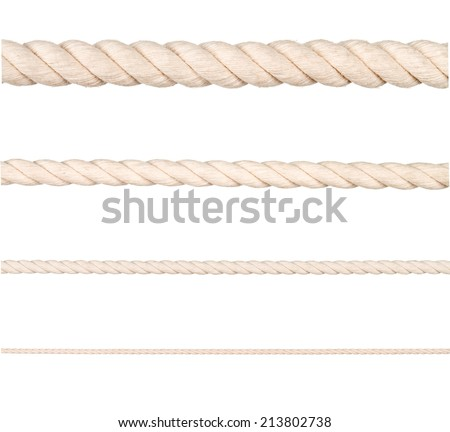 Seamless  rope on white background - stock photo
