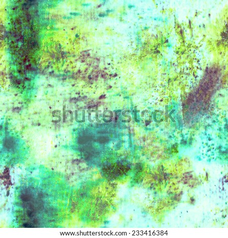 seamless rusty grungy background pattern with wet spots and splashes of colors. - stock photo