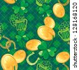 Seamless Saint Patrick day pattern. Shamrock and golden coins on checkered background. Raster version - stock