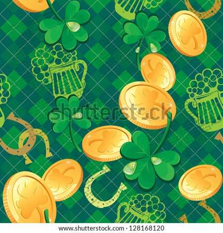 Seamless Saint Patrick day pattern. Shamrock and golden coins on checkered background. Raster version - stock photo