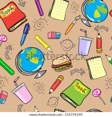 Seamless school background, back to school pattern (raster version)