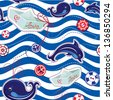 Seamless sea pattern with dolphins, whales, paper ships and buttons on stripe background. Raster version - stock photo