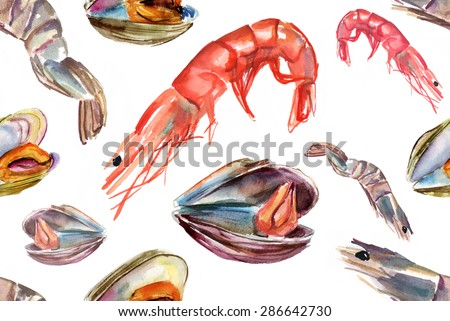 Seamless seafood background pattern with shrimps and mussels, watercolour drawings, on white background - stock photo