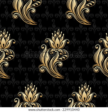 Seamless shining background with vintage floral pattern. Raster version. - stock photo