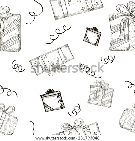 Seamless Sketch Gifts Background.