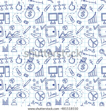 Seamless sketch of business doddle elements on notebook