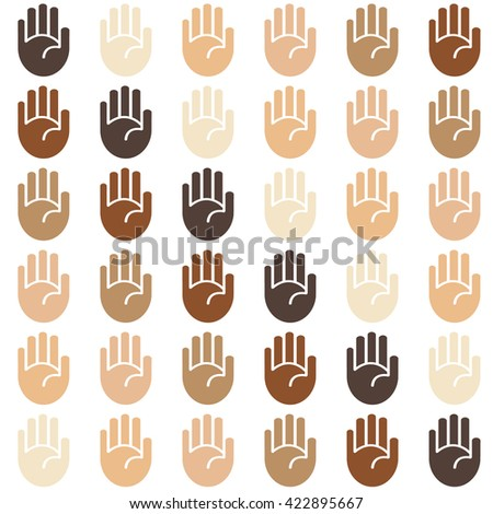 Seamless skin tone palms background pattern