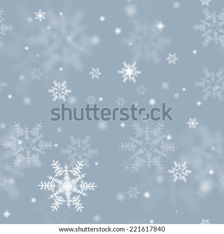 seamless snowflake texture, winter background - stock photo