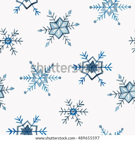 Seamless snowflakes pattern. Christmas and New Year design. illustration