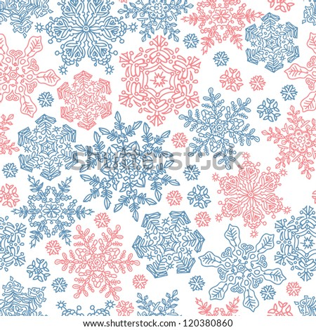 Seamless snowflakes pattern for winter themed designs. Raster version, vector file available in portfolio. - stock photo