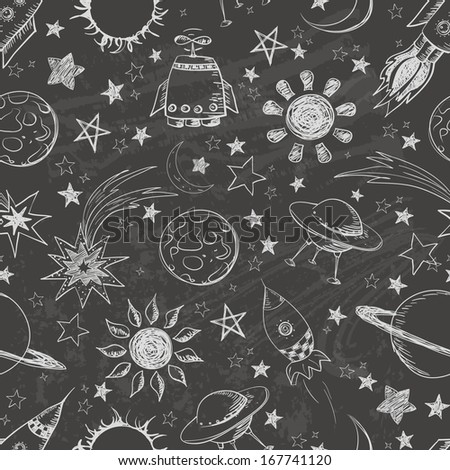 Seamless space pattern. Can be used for wallpaper, pattern fills, textile, web page background, surface textures.  - stock photo