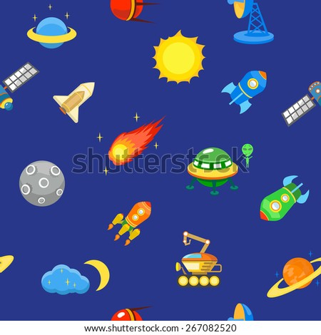 Seamless space pattern. Planets, rockets and stars. Cartoon spaceship icons. Kid's elements for scrap-booking. Childish background.  - stock photo