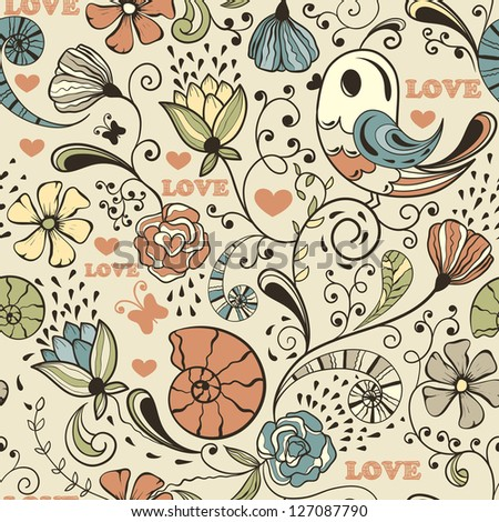 seamless spring pattern - stock photo