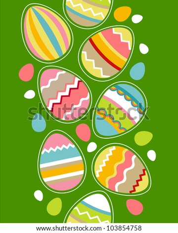 Seamless spring vertical border with easter eggs. Raster version - stock photo