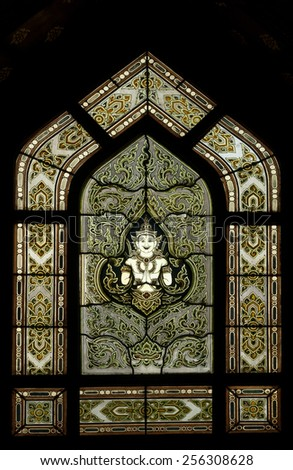 Seamless stained glass panel Thai style of Wat Benchamabophit or Marble temple in Bangkok, Thailand  - stock photo