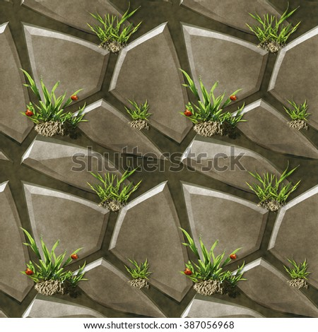 Seamless stone pavement pattern with grass, clay and ladybugs - stock photo