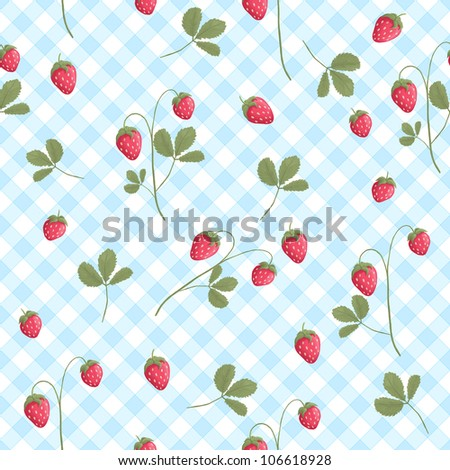 Seamless strawberry pattern on blue and white - stock photo