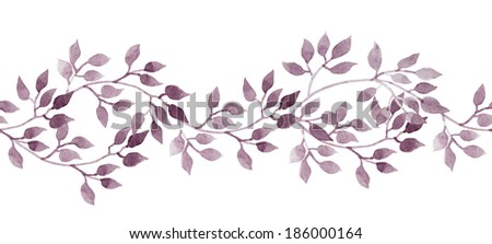 Seamless stripe banner with hand painted watercolour leaves. Repeated pattern. - stock photo