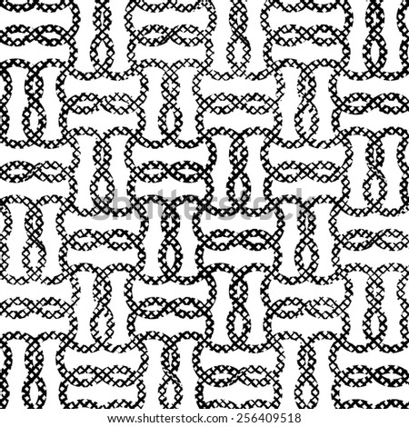 Seamless striped grunge black and white grid texture. Ink grunge brush illustration background.