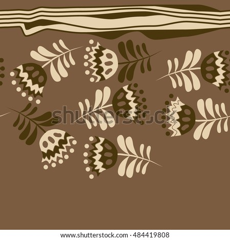 Seamless  striped horizontal   pattern of floral motif . Hand drawn.