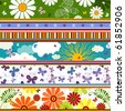 Seamless striped vivid summer pattern with application - stock photo