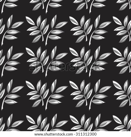 Seamless stylized abstract pattern (background) with leaves silhouette.  Texture with  leaves. - stock photo