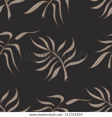 Seamless stylized abstract pattern (background) with palm leaves silhouette.  Texture with  leaves. - stock photo