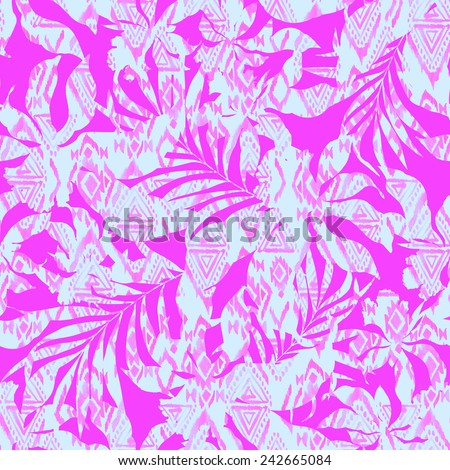 seamless subtle and gentle pattern with tropical floral silhouettes and aztec pattern filling. - stock photo