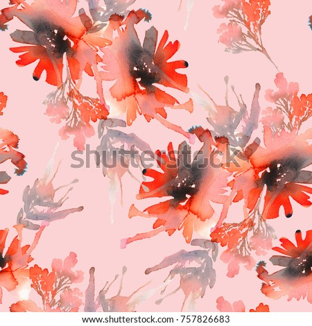 Seamless summer pattern with watercolor flowers handmade. Gently pink background.