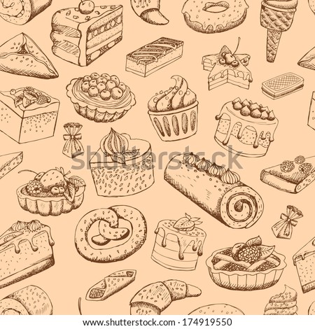 Seamless sweet pastries vector illustration wallpaper