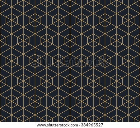 Seamless tan blue and brown hexagonal outline grid pattern