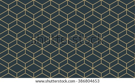 Seamless tan blue and brown isometric parallelepiped pattern