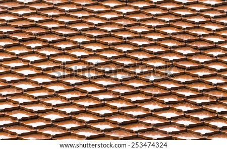Seamless terracota roof tile - pattern for continuous replicate. - stock photo
