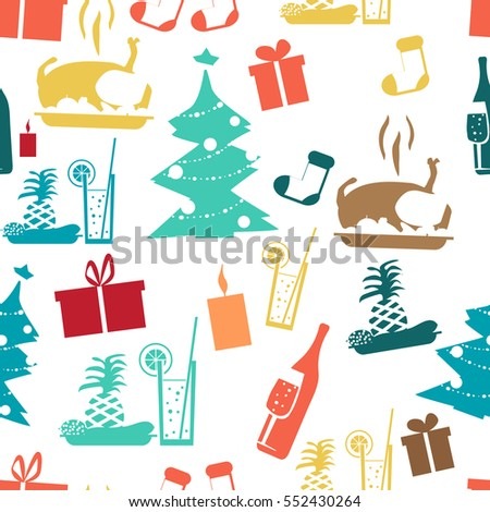 Seamless textile pattern for a Christmas theme flat style