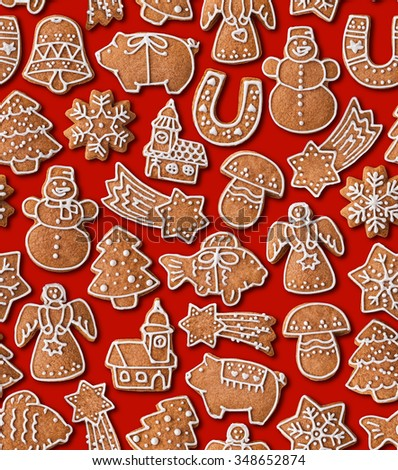 Seamless texture background with Christmas gingerbread cookies - stock photo