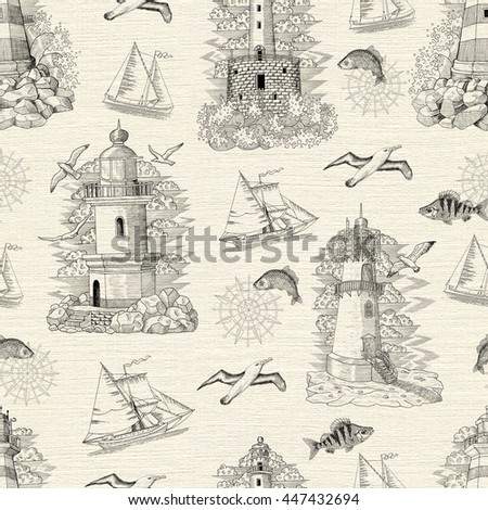Seamless texture background with engraved lighthouses, boats, gulls and fish. Sea doodle illustration with vintage transportation emblems, hand drawn repeated drawing with marine elements