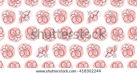 Seamless texture. Flowers cherry on watercolor spots on a white background. Suitable as a pattern for fabrics or gift wrapping paper. - stock photo