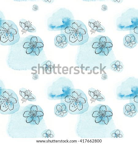 Seamless texture. Graphical representation of the cherry blossoms on watercolor mug. Located on a white background. Blue. - stock photo