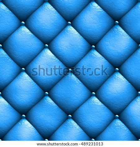 Seamless texture leather upholstery sofa blue. 3D illustration