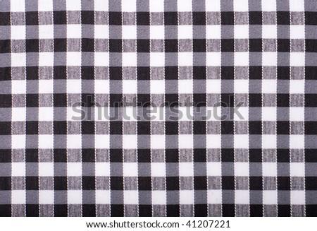seamless texture of black and white blocked tartan cloth - stock photo