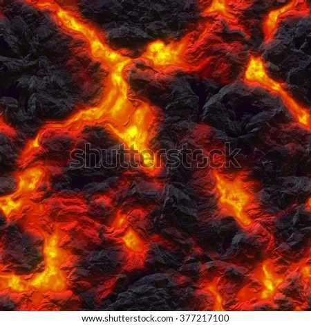 Seamless texture of molten lava. Hot magma background. A high resolution. - stock photo