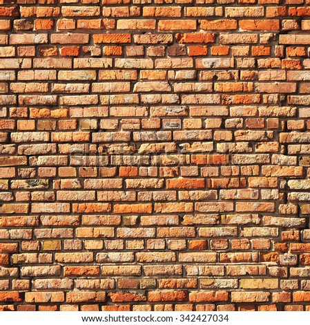 Seamless texture of old brick wall (tiling). Endless texture can be used for wallpaper, web page background, surface textures - stock photo