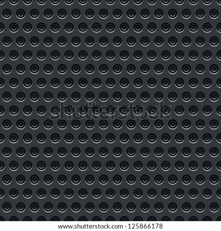 Seamless texture perforated pattern black metal surface dark gray background. Template size square format. This image is a bitmap copy my vector illustration - stock photo