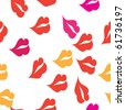 Seamless texture with a lot of red lips prints - stock photo
