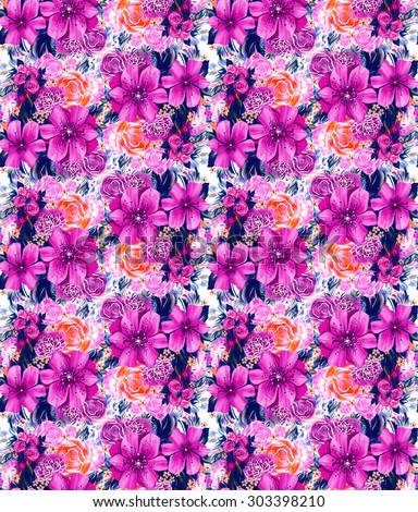 Seamless texture with blue flowers on a black background in watercolor technique. Wallpaper with roses, daisies and mimosa. The painting in the style of gzhel. Russian decorative pictures. Holidays - stock photo