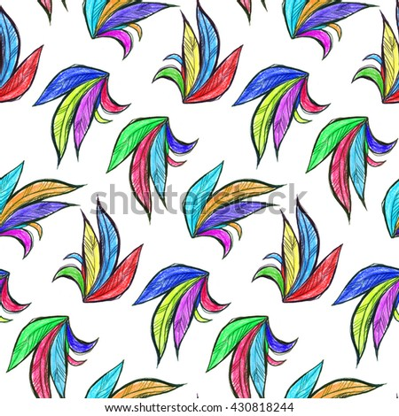 Seamless texture with bright feathers. Rooster tail. - stock photo