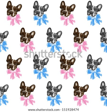 Seamless texture with colored brown bulldogs in a pink bow and gray bulldogs in a blue bow. Bows with white polka dots. Children's drawing, wallpaper in the nursery. Sad, expressive eyes. Muzzle puppy - stock photo