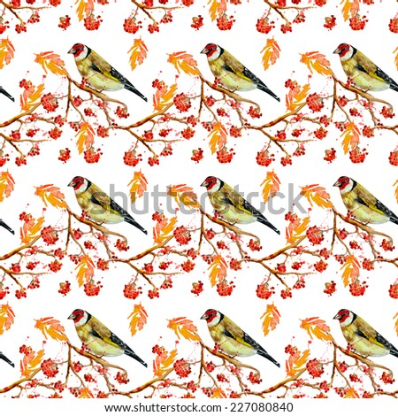 seamless texture with cute birds and rowan watercolor - stock photo